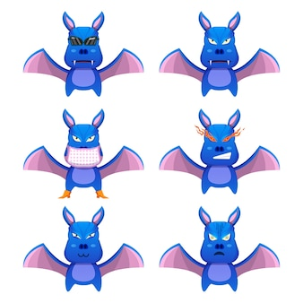 Simpatici pipistrelli con diversi accessori ed espressioni facciali (cartone animato mascotte)