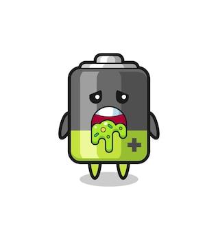 Il simpatico personaggio della batteria con vomito, design in stile carino per maglietta, adesivo, elemento logo
