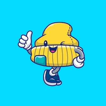 Illustrazione sveglia dell'icona del cappello del berretto. personaggio dei cartoni animati della mascotte isolato