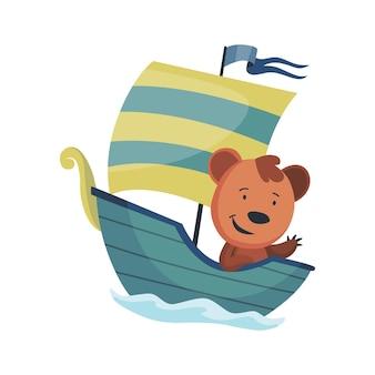 Simpatico orso animale che naviga in barca. marinaio divertente del fumetto di vettore sulla barca a vela con onde di acqua isolati su priorità bassa bianca. carattere del bambino.