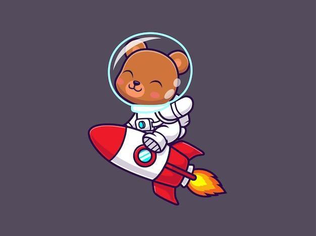 Simpatico orso astronauta equitazione razzo
