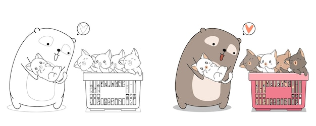 Pagina da colorare di cartoni animati carino orso e bambino gatti per i bambini