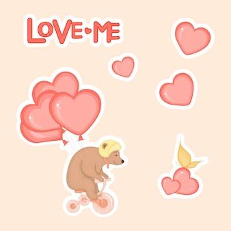 Simpatico orsetto in bicicletta con cuori per san valentino in stile cartone animato. lettere d'amore. adesivi.