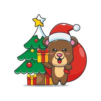 Simpatico orsetto che porta un regalo di natale simpatico cartone animato di natale illustrazione