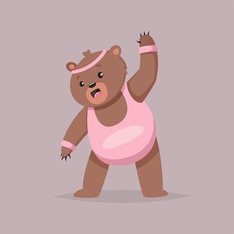 Personaggio dei cartoni animati sveglio dell'orso che fa le esercitazioni. fitness e stile di vita sano. illustrazione di grasso animale divertente isolato su.