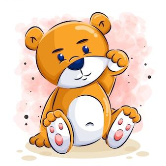 Simpatico orso cartoon illustrazione