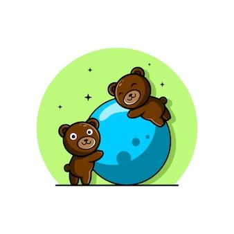 Simpatico orso cartoon logo giocando a palla