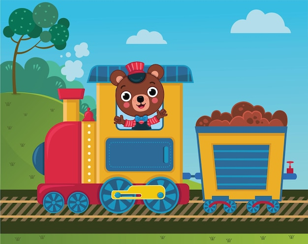 Simpatico orsetto sta guidando un treno illustrazione vettoriale