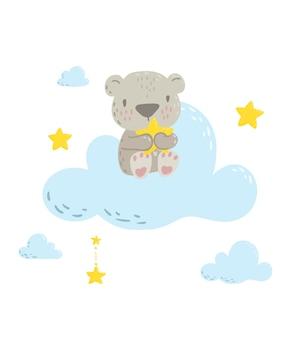 Simpatico orsetto sulla nuvola con in mano una stella