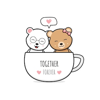Simpatico orso coppia in una tazza di caffè cartone animato scarabocchio carta icona illustrazione design piatto stile cartone animato