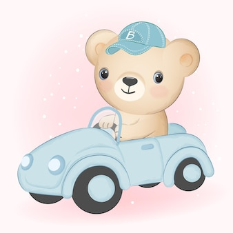 Orso sveglio che guida l'illustrazione disegnata a mano del fumetto dell'automobile
