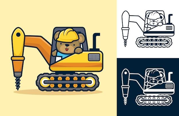 Simpatico orso che guida il trattore con trapano. illustrazione del fumetto in stile icona piatta