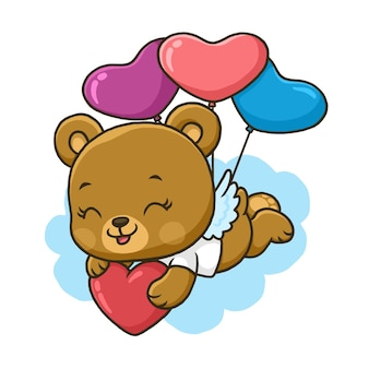 Simpatico orso vola con palloncino cuori isolato su priorità bassa bianca.