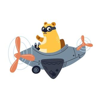 Simpatico orso in volo su aeroplano, felice illustrazione isolati su sfondo bianco.
