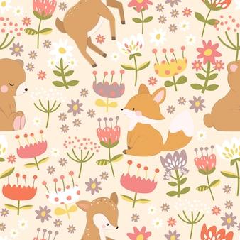 Orso carino, volpe, cervo nel modello senza cuciture del giardino di fiori