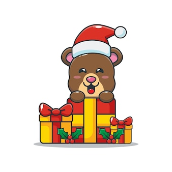 Simpatico orsetto felice con un regalo di natale simpatico cartone animato di natale illustrazione
