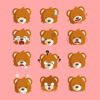 Simpatico orso con 12 espressioni Vettore Premium