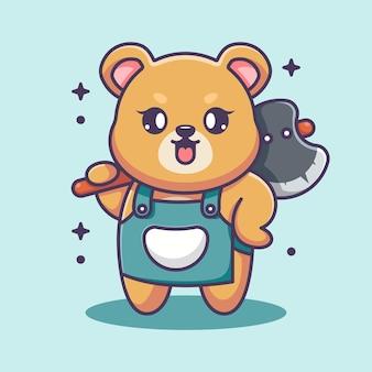 Simpatico orso che tiene ascia del fumetto