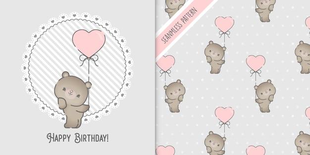 Simpatico orso che tiene palloncino per baby shower
