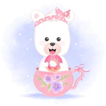 Ciambella sveglia della tenuta dell'orso nell'illustrazione disegnata a mano della tazza