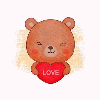 Orso carino con amore. in stile matite colorate.