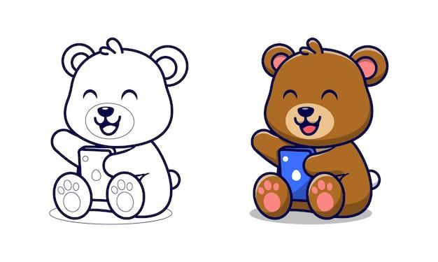 Simpatico orso che tiene le pagine da colorare dei cartoni animati del telefono per i bambini