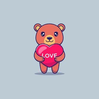 Simpatico orso abbraccio amore palloncini