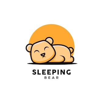 Simpatico orso illustrazione che dorme in stile cartone animato