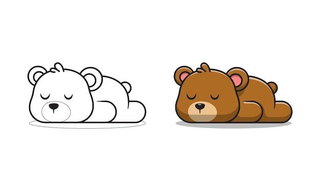 Simpatico orso sta dormendo cartoni animati da colorare per bambini