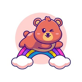 Simpatico orso che salta con il fumetto arcobaleno