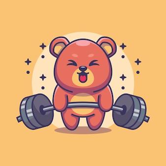 Simpatico cartone animato di sollevamento pesi orso