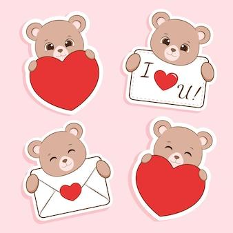 Simpatico orso nella collezione di adesivi amore