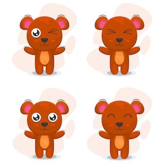 Vettore del fumetto del mascot dell'orso sveglio Vettore Premium