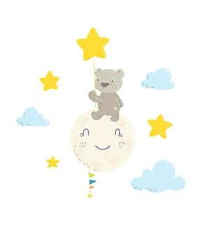 Simpatico orso sulla luna con in mano un cartone animato con palloncino stellato