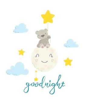 Simpatico orso sulla luna con palloncino a stella