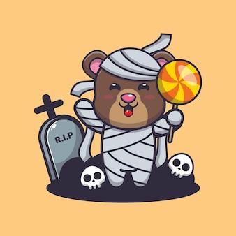 Simpatico orso mummia con caramelle simpatica illustrazione di cartone animato di halloween