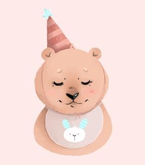 Simpatico orso in un cappello da festa