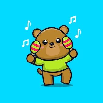 Simpatico orso suona uno strumento musicale