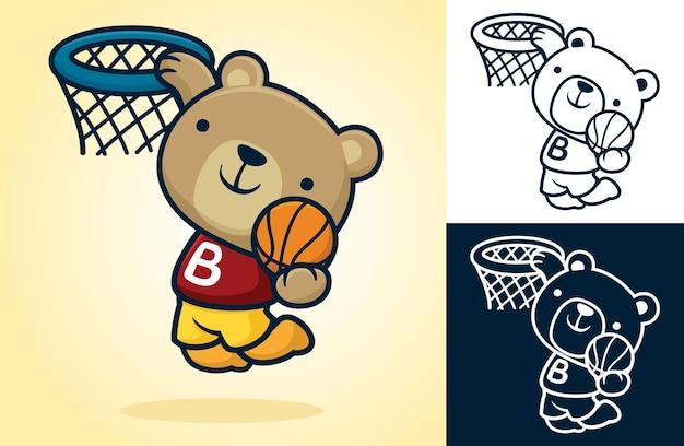 Simpatico orso che gioca a basket, saltando tenendo la palla per metterla nel cestino. illustrazione del fumetto in stile icona piatta