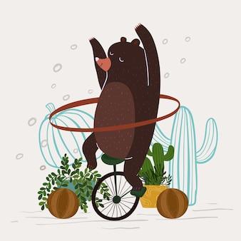 Simpatico orso che gioca a danza hula hoop con illustrazione vettoriale unicile