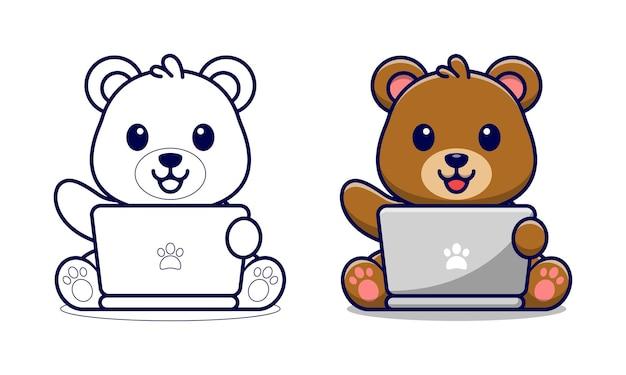 Orso sveglio che gioca le pagine da colorare dei cartoni animati del computer portatile per i bambini