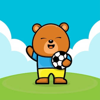 Simpatico orso che gioca a pallone da calcio fumetto illustrazione