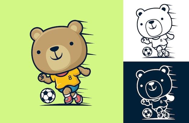 Simpatico orso che gioca a calcio. illustrazione del fumetto in stile icona piatta
