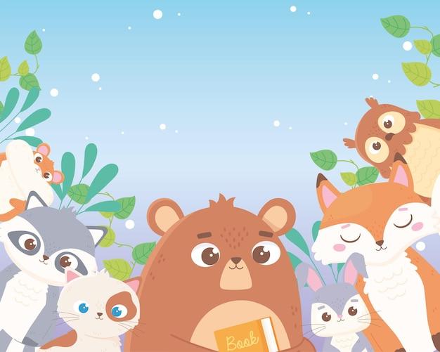 Simpatico orso coniglio volpe gufo procione gatto e criceto foglie fogliame animali fumetto illustrazione