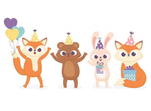 Simpatico orso coniglio e volpi con cappelli da festa regali e palloncini celebrazione felice giorno illustrazione