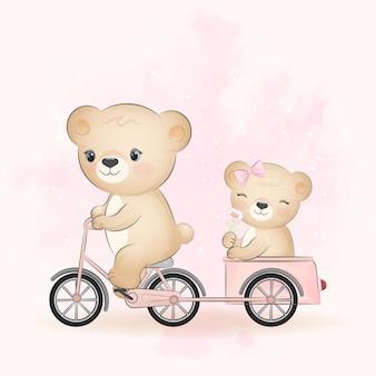 Simpatico orso in bicicletta con un piccolo orso nell'illustrazione dell'acquerello del rimorchio