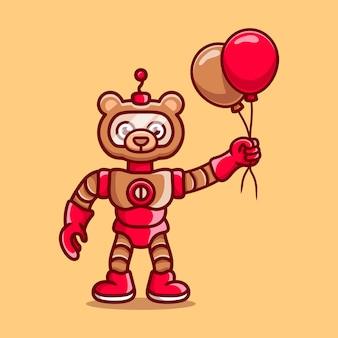 Simpatico orsetto robot con palloncino