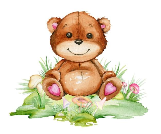 Simpatico, orso, seduto in una radura, circondato da funghi. acquerello, clipart, stile cartone animato, su uno sfondo isolato.
