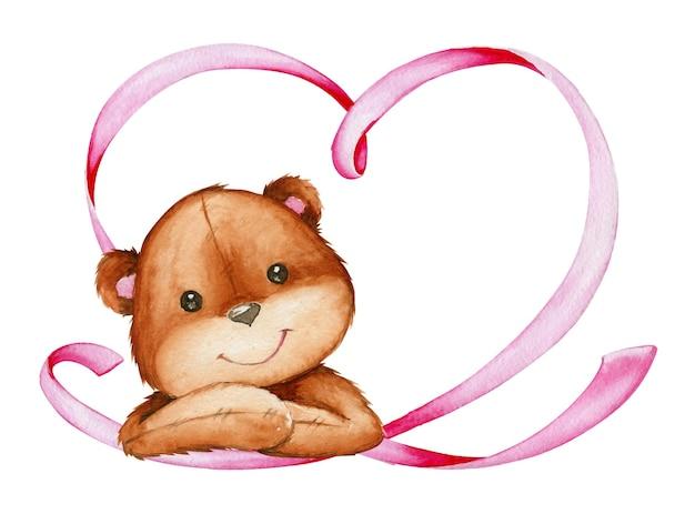 Simpatico orso seduto, cuore fatto di nastro rosa.