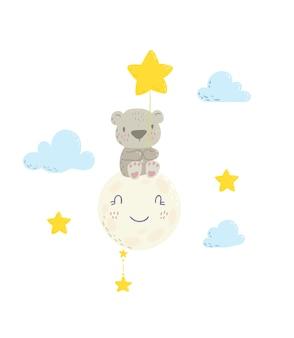 Simpatico orso seduto sulla luna e con palloncino a stella